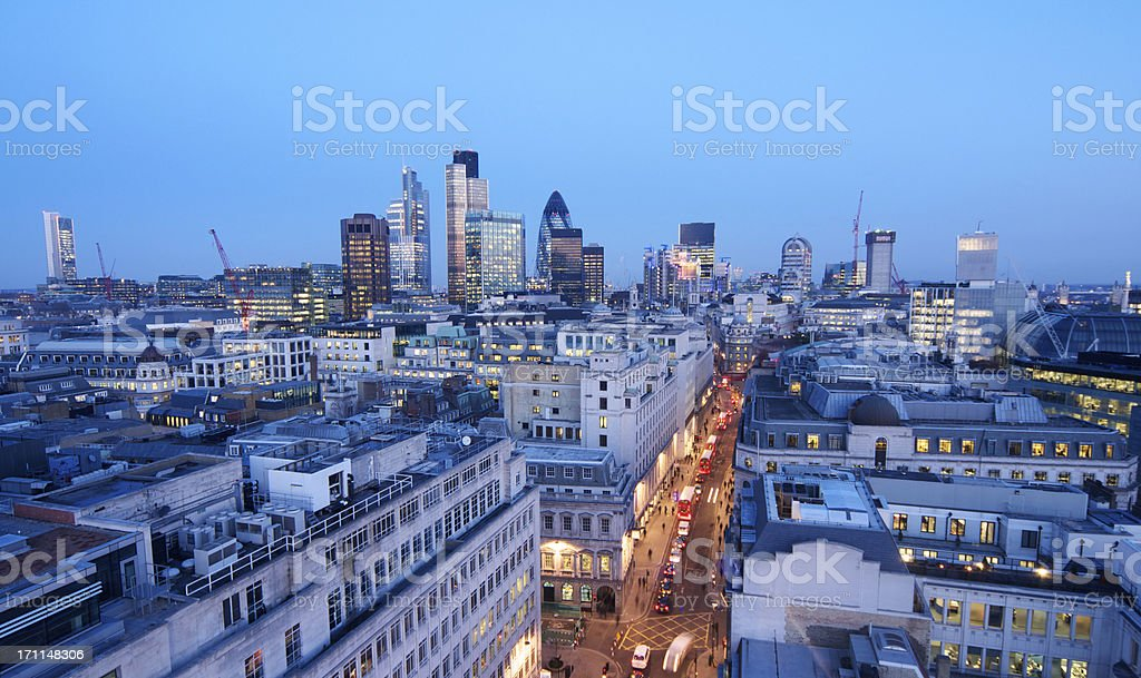 London financial district wide angle at twilight royalty-free stock photo