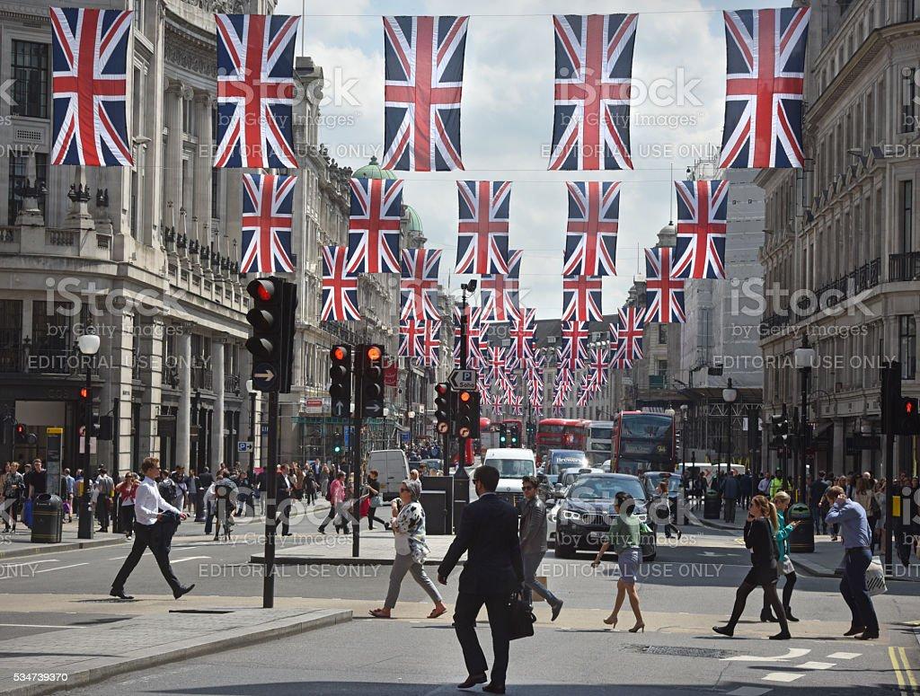 London flags stock photo