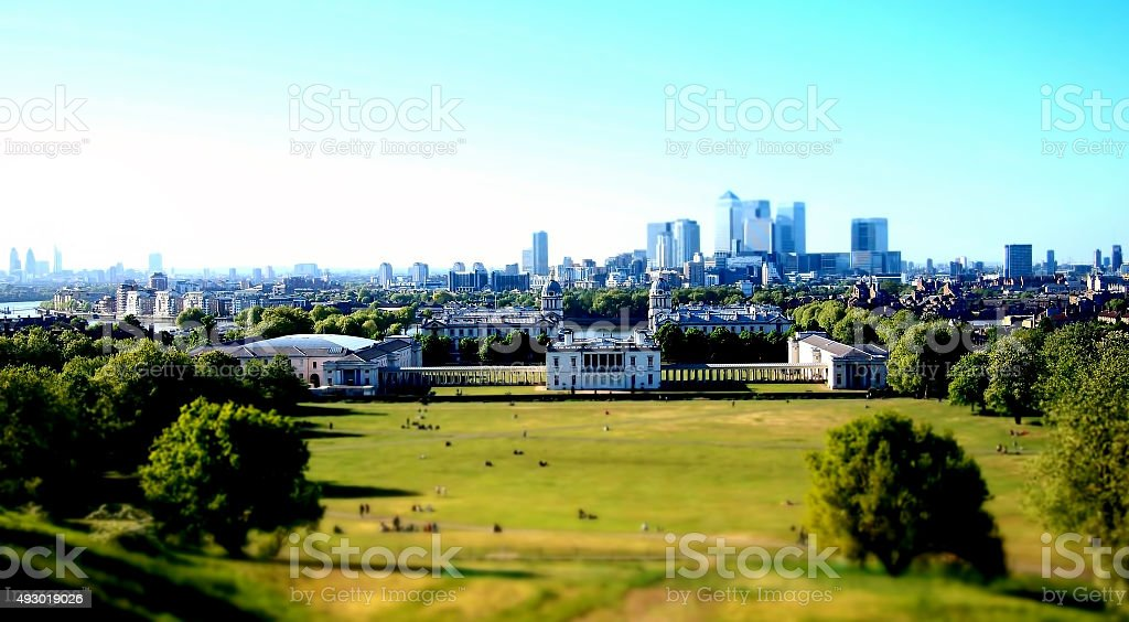 London from Greenwich Observatory in the summer stock photo