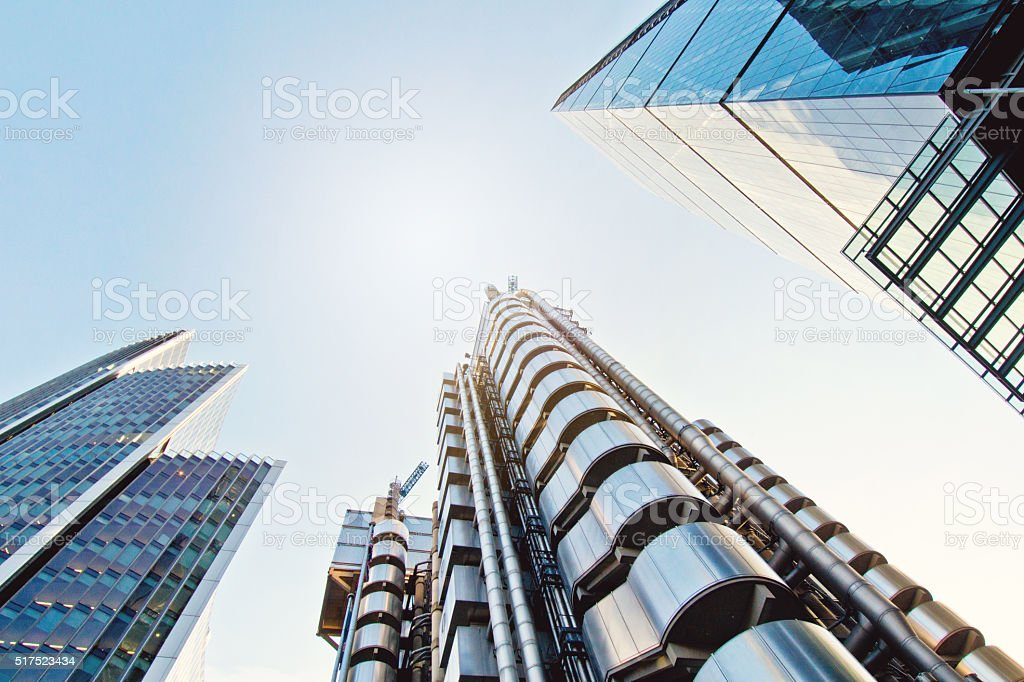 London global finance and business district skyscrapers stock photo