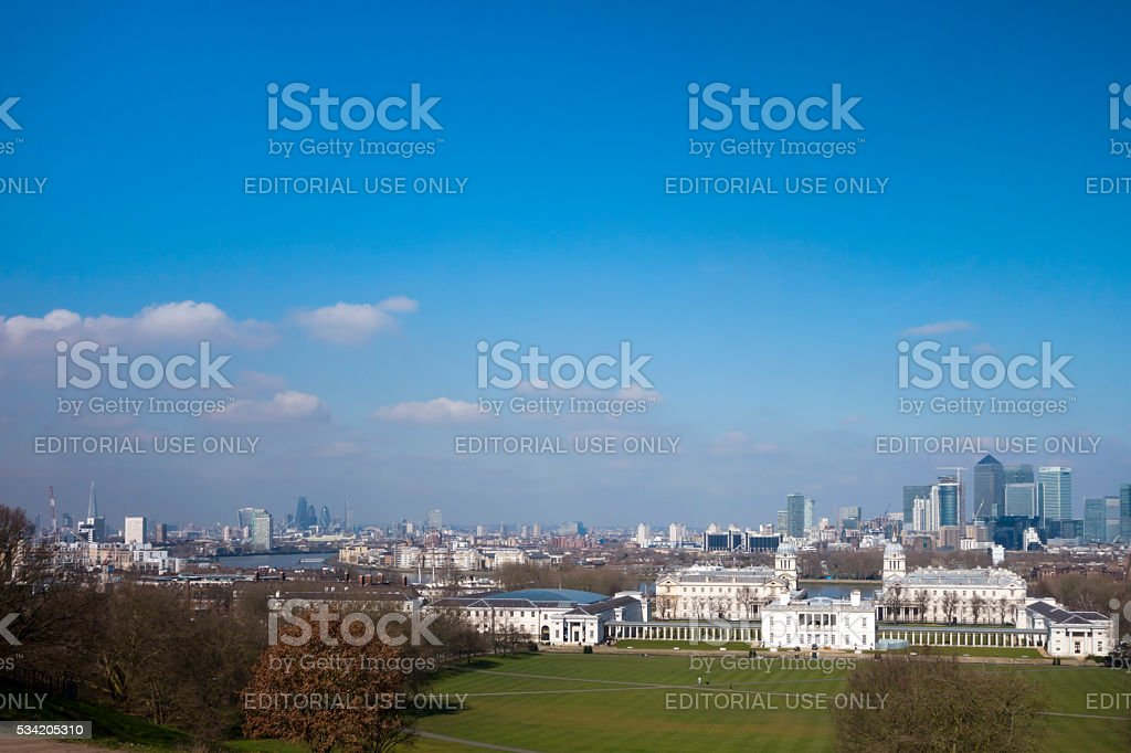 London, Greenwich, Canary Wharf and the River Thames stock photo