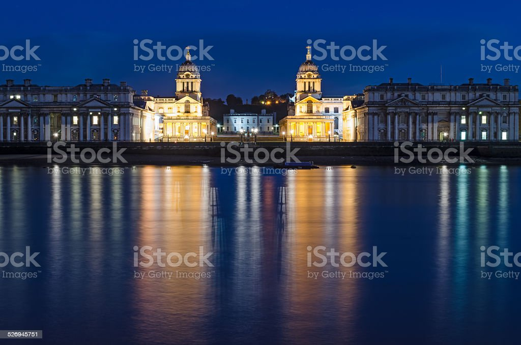 London, Greenwich view from Isle of Dogs stock photo