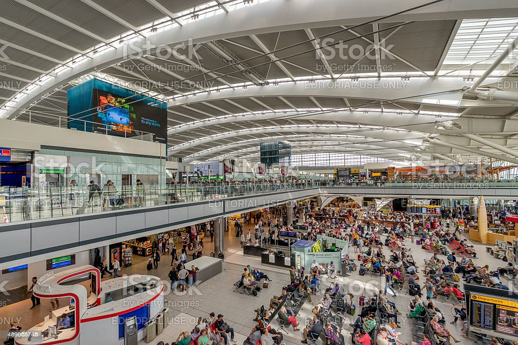 London Heahtrow Airport Terminal 5 departures stock photo