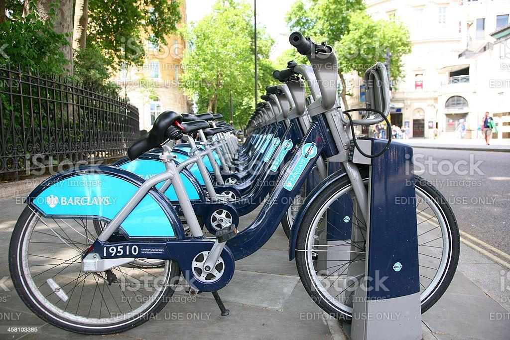 London Hire Bikes royalty-free stock photo