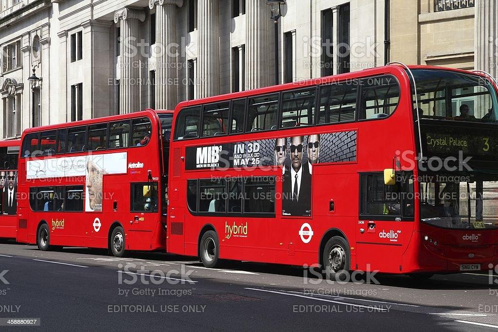London hybrid buses stock photo