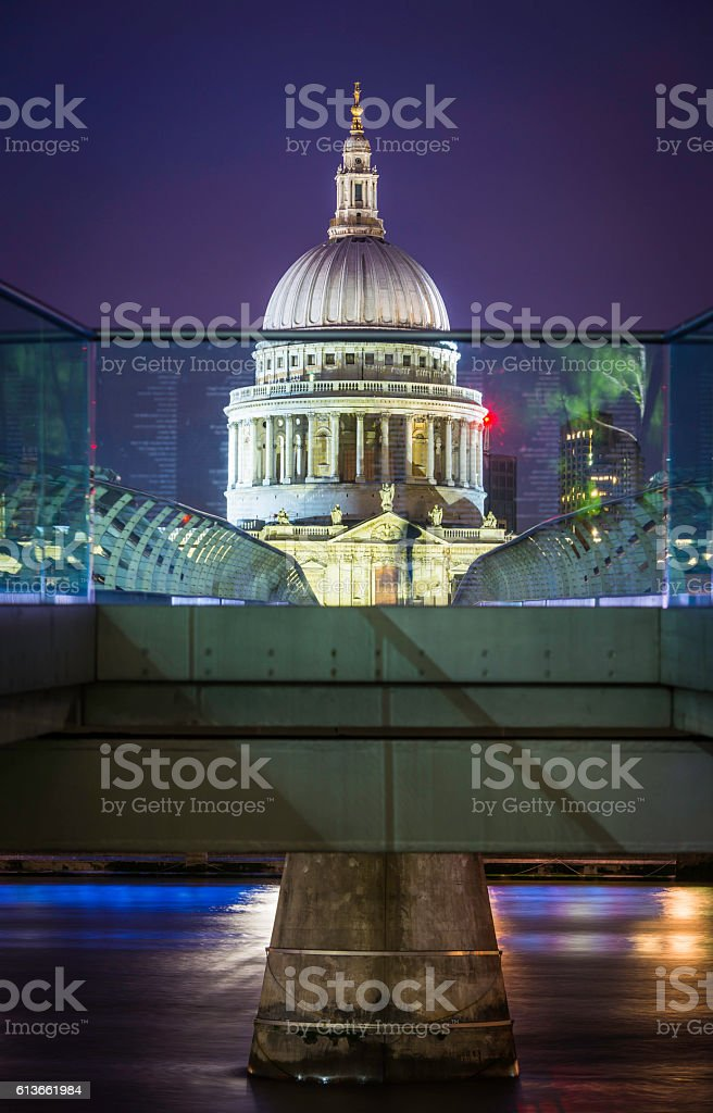 London iconic dome of St Pauls Cathedral illuminated at night stock photo