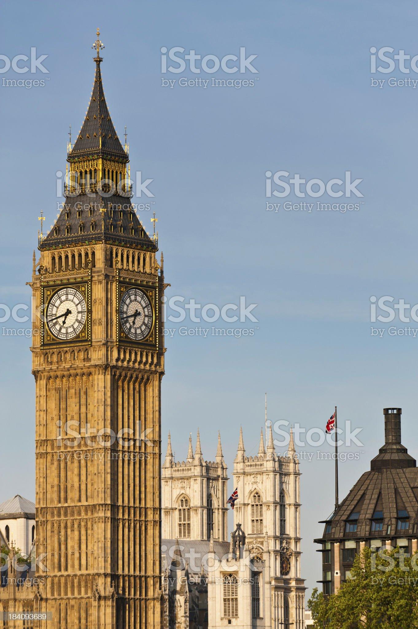 London iconic landmarks Big Ben Westminster Abbey royalty-free stock photo