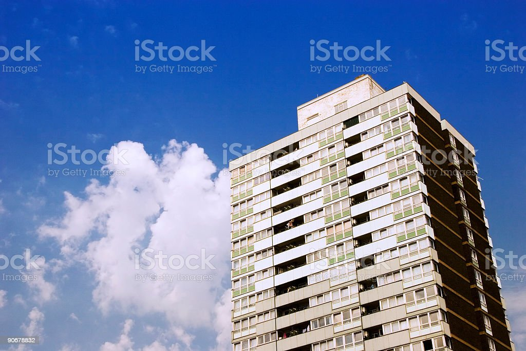 London inner city block of flats, blue sky and clouds royalty-free stock photo