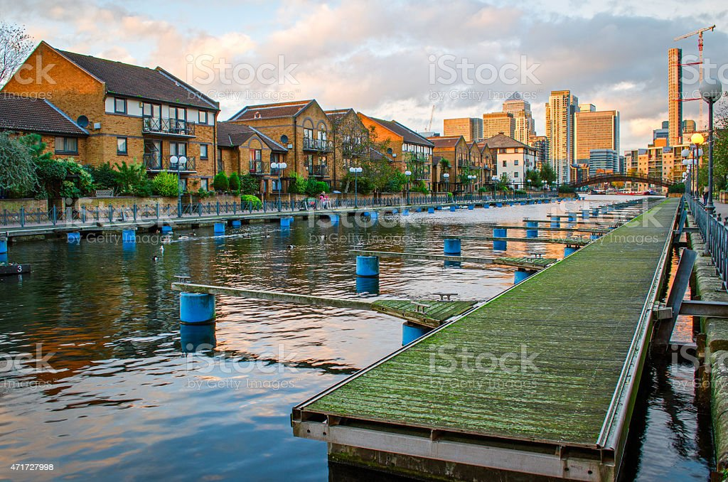 London, Isle of Dogs and Canary Wharf stock photo