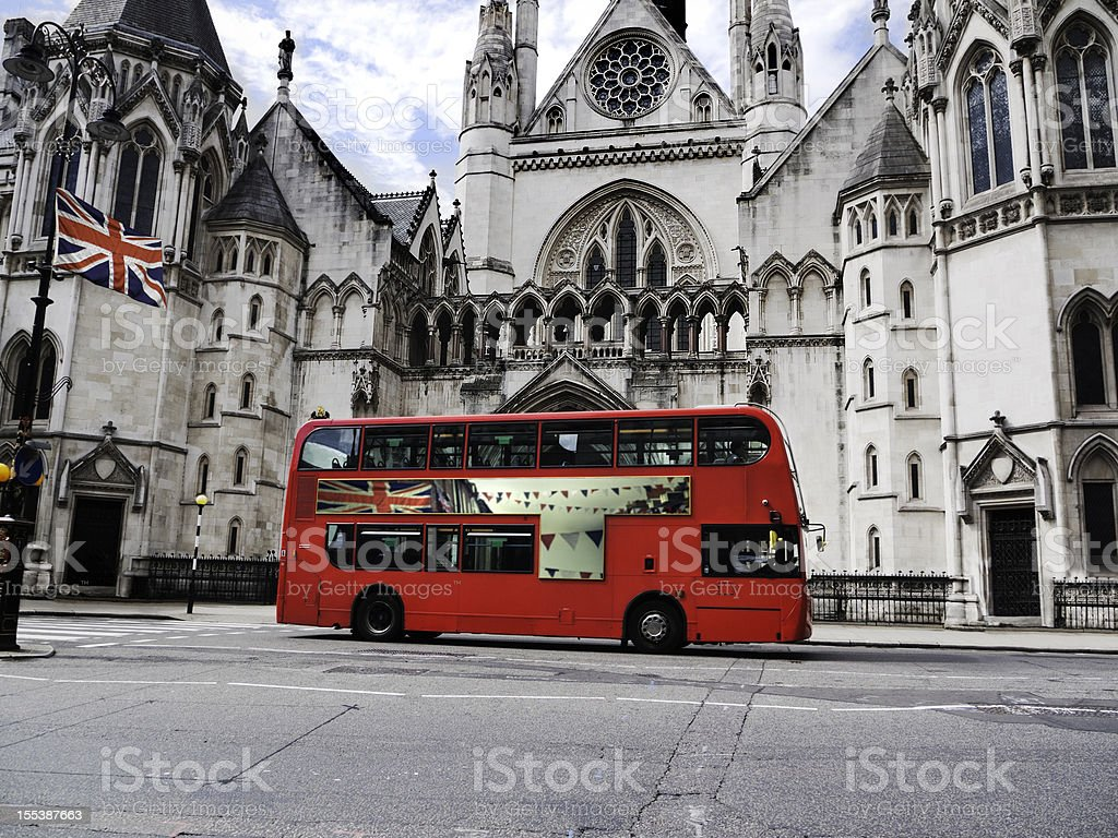London:  Jubilee bus and Union Jack royalty-free stock photo
