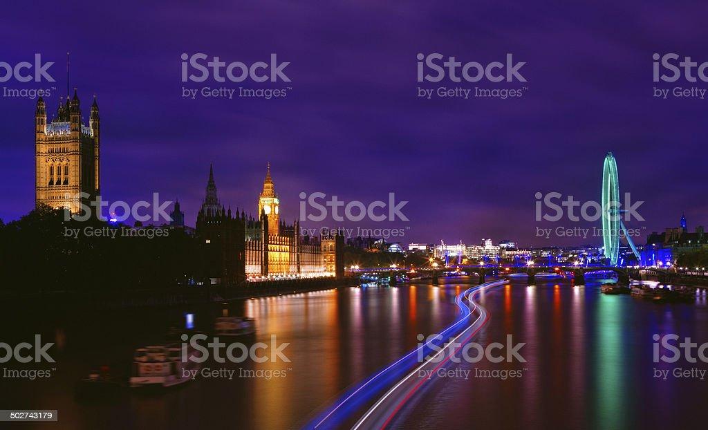 London landmarks in the night stock photo