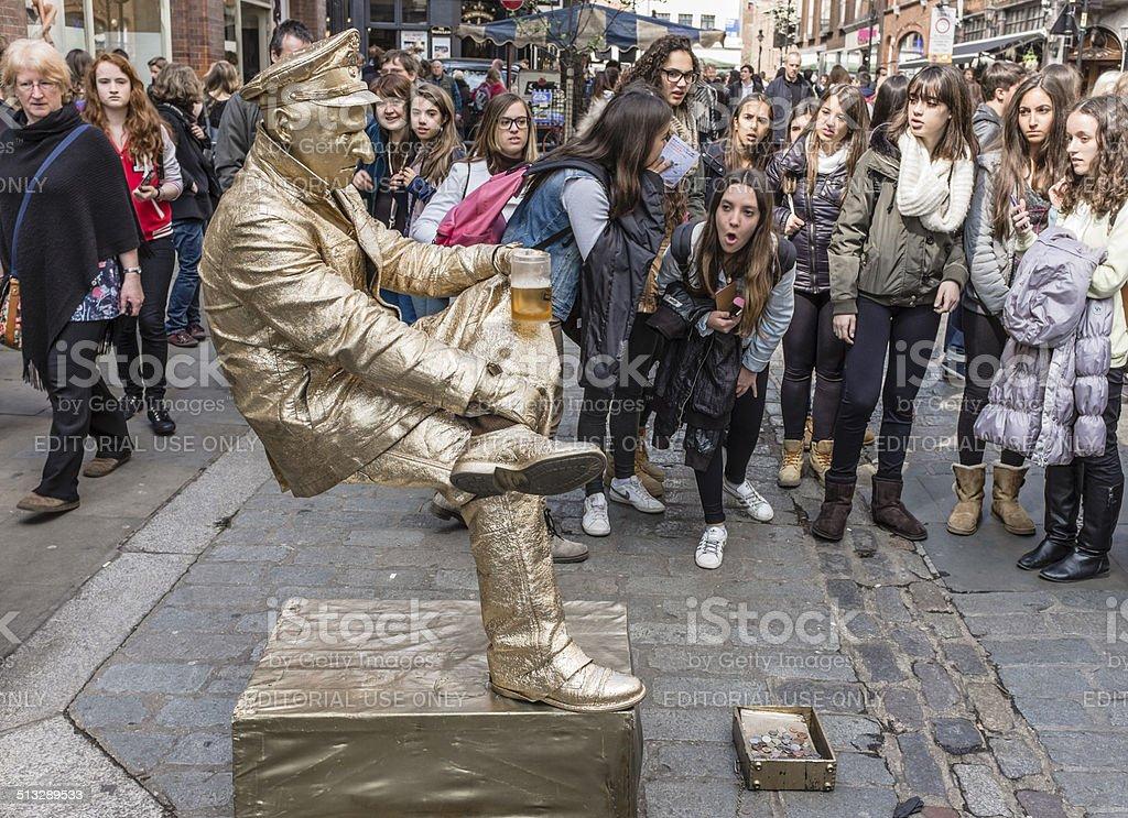London living statue street entertainer stock photo