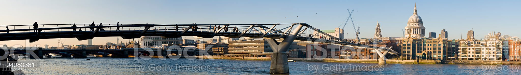 London Millenium Bridge panorama royalty-free stock photo
