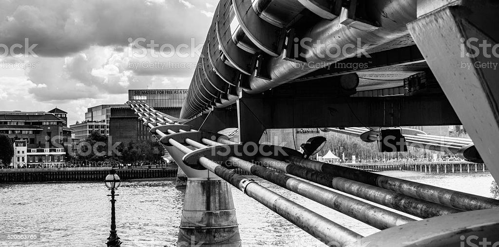 London Millenium footbridge seen from below stock photo