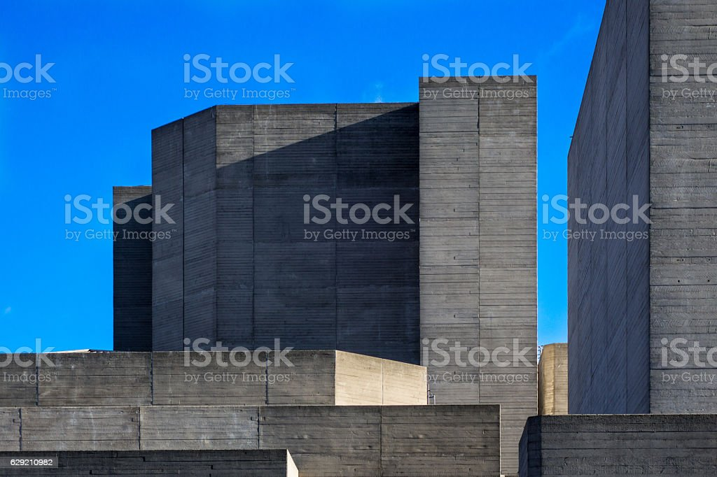 London National Theatre facade against blue sky stock photo