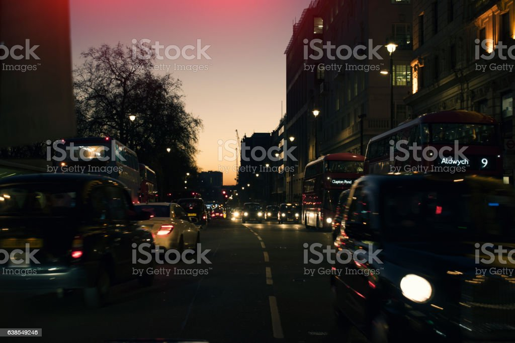 London Night Traffic Cab and Buses stock photo