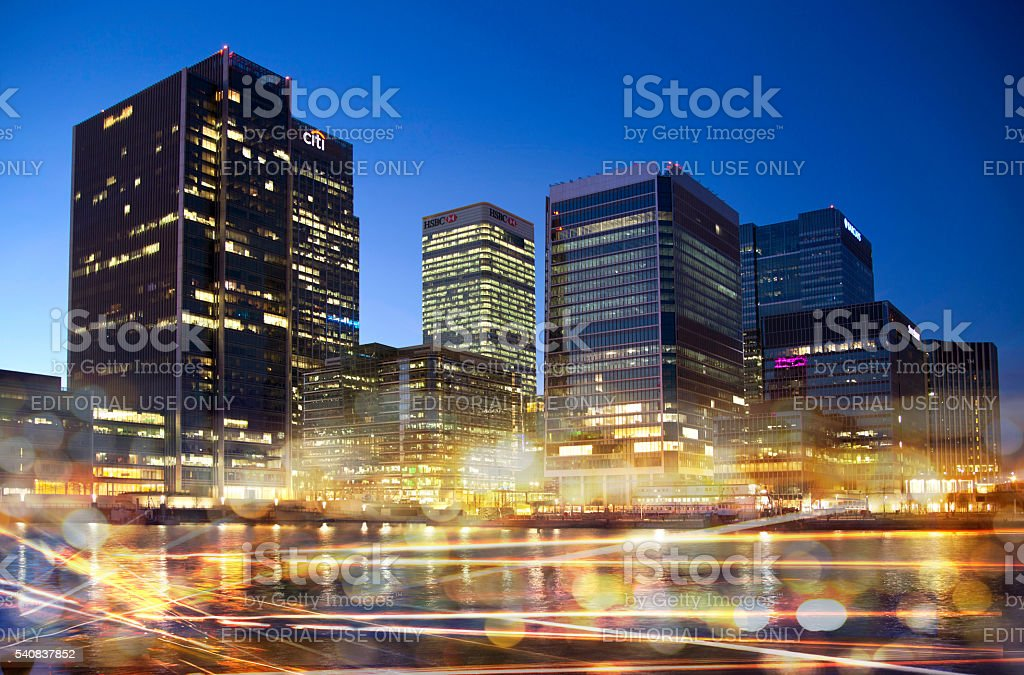London, office buildings Canary Wharf in dusk stock photo