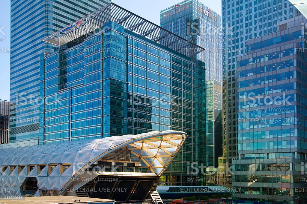 London, office buildings  in Canary Wharf stock photo