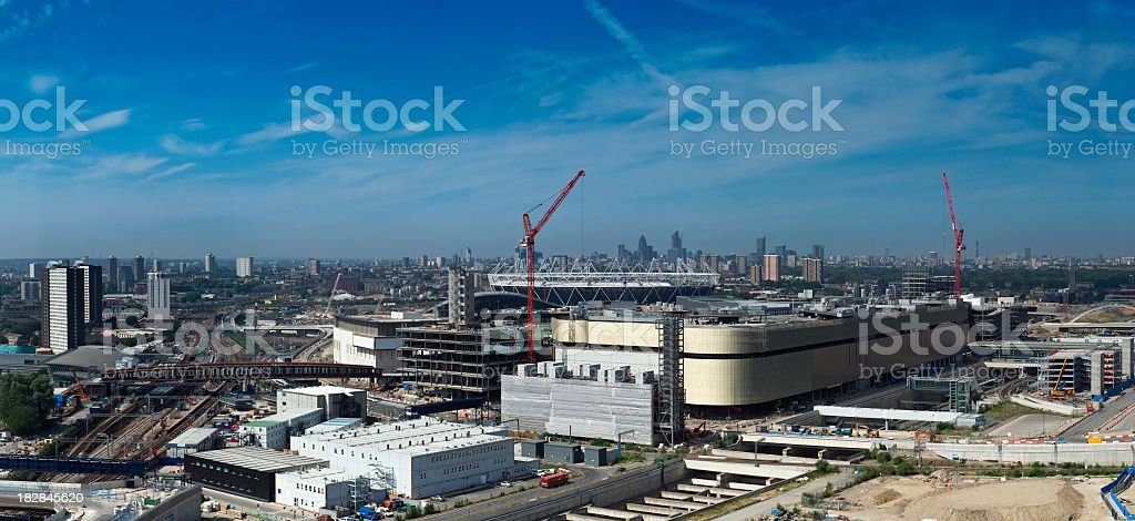 London Olympic Games urban regeneration site panorama. stock photo