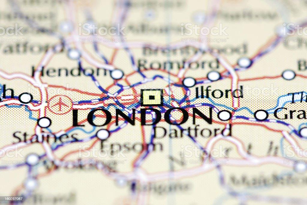London auf Karte Lizenzfreies stock-foto