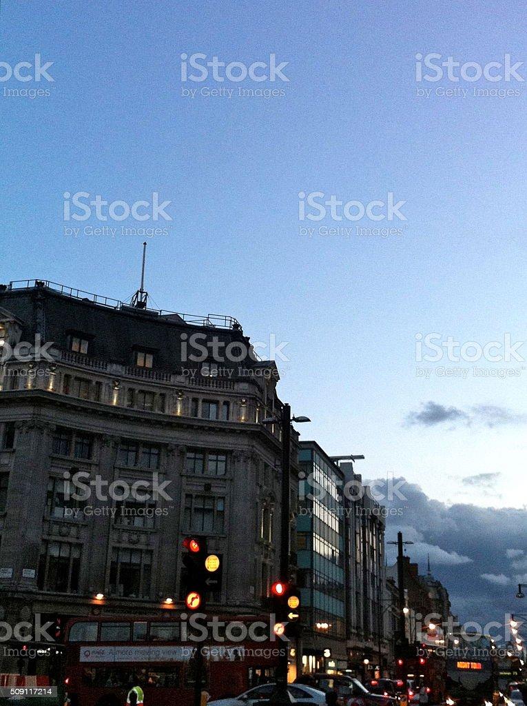 London Oxford Circus at dusk stock photo