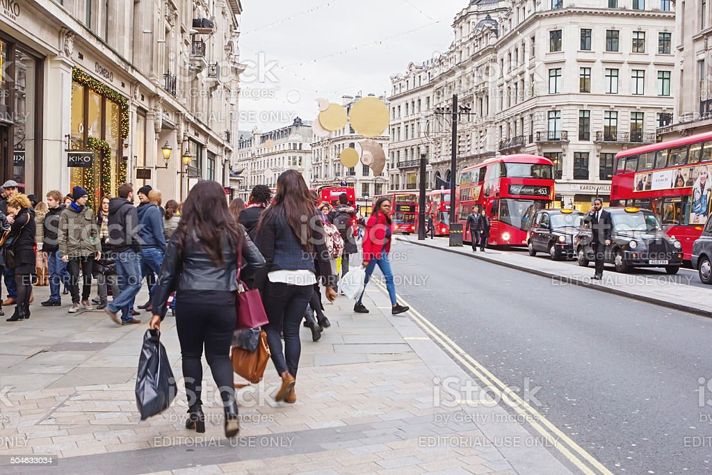 London, Oxford street in the Boxing day  2015 stock photo