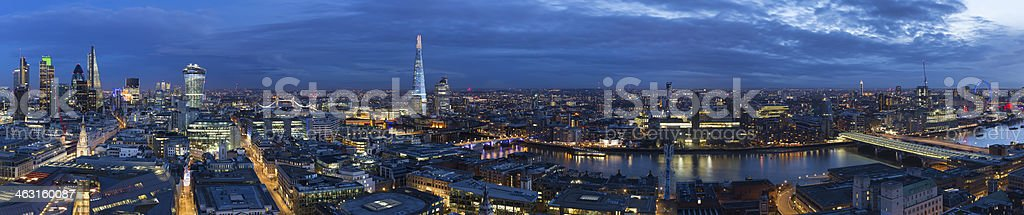 London Panoramic Aerial View of Landmarks and Thames at Dusk stock photo