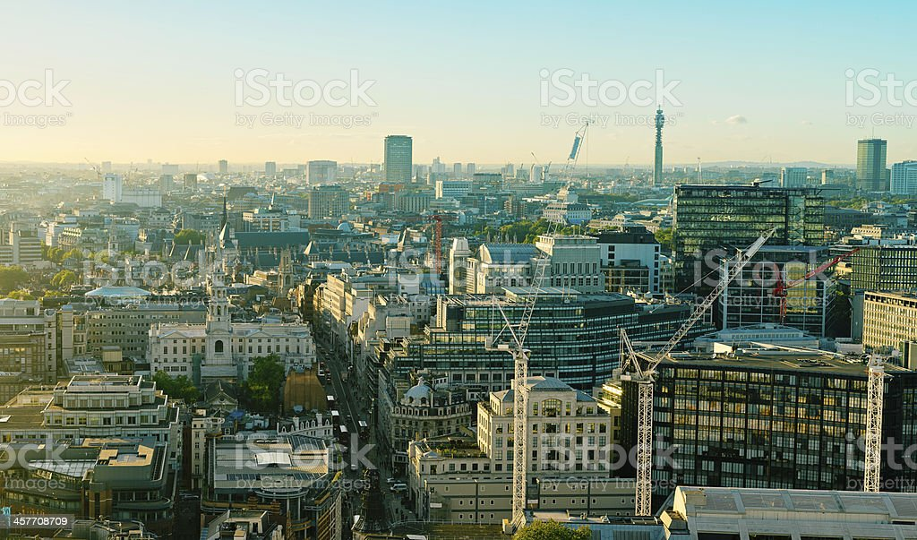 London Panoramic view Strand West End stock photo