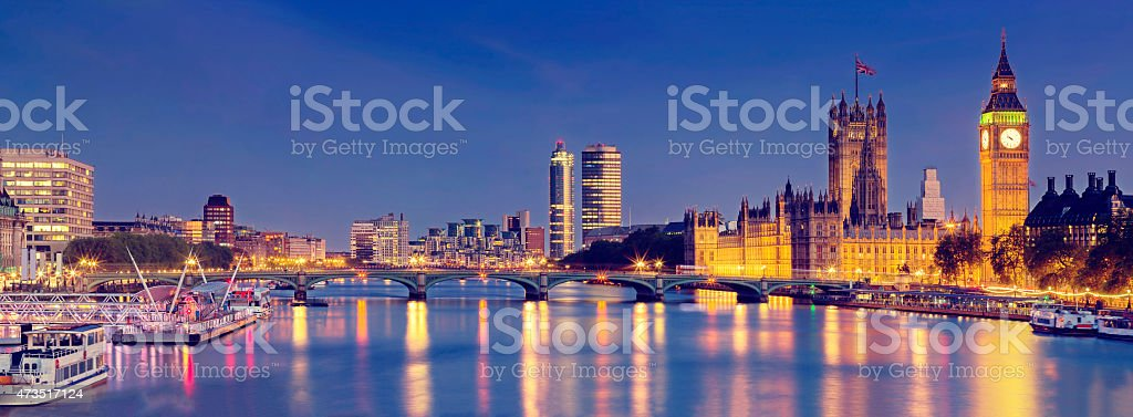 London panoramic with Westminster Bridge and The Houses of Parliament stock photo