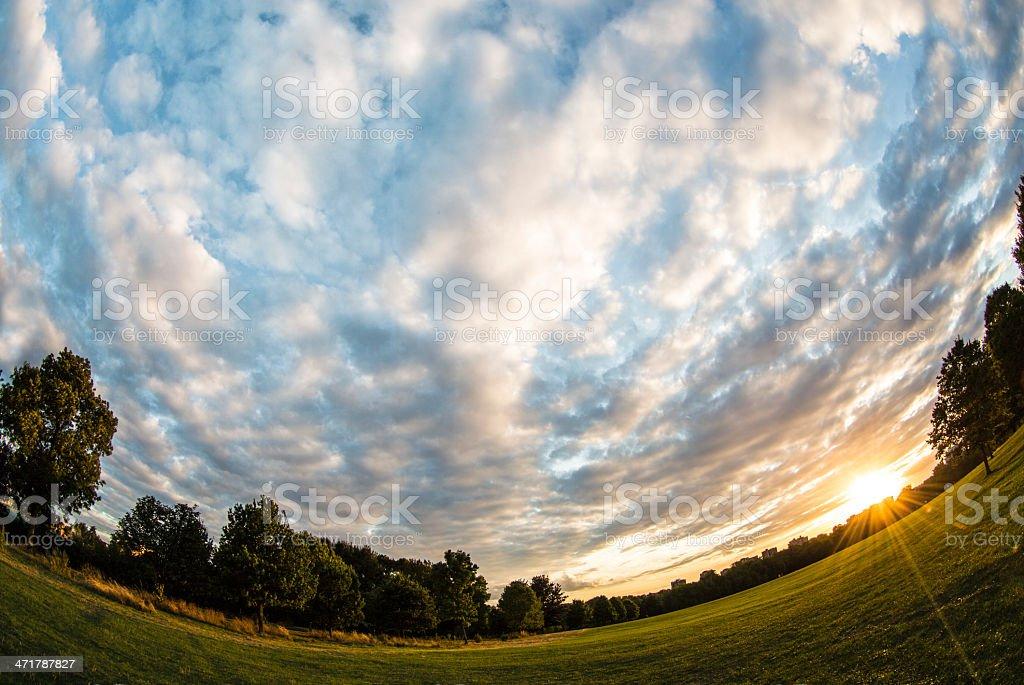 London Park Primrose Hill cloudy sunset stock photo