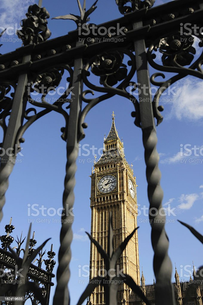 London parliament behind fence royalty-free stock photo
