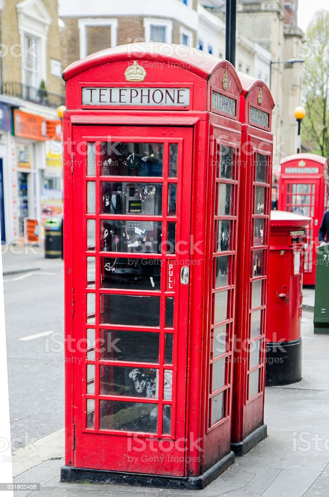 London phone booths stock photo