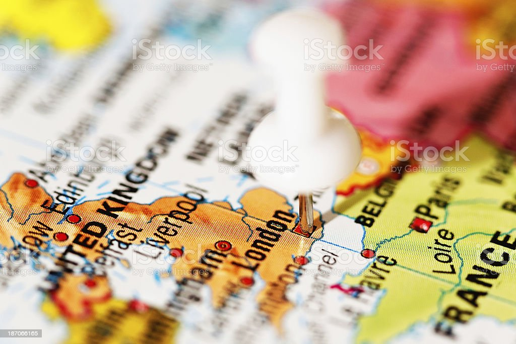 London pinpointed on map of the United Kingdom by pushpin stock photo