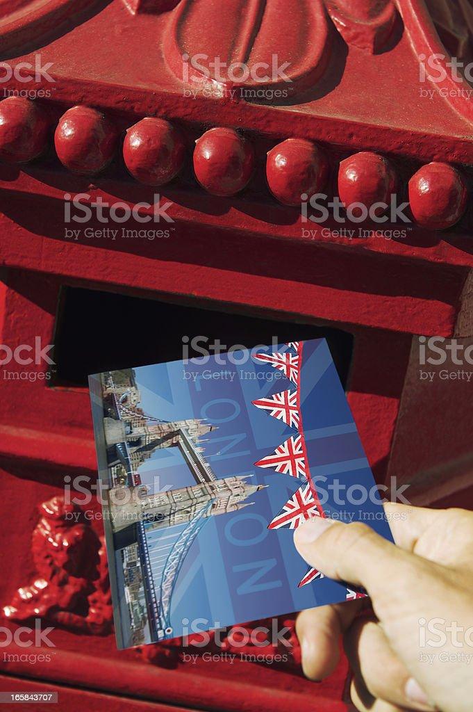 London Postcard Traditional Red English Mailbox royalty-free stock photo