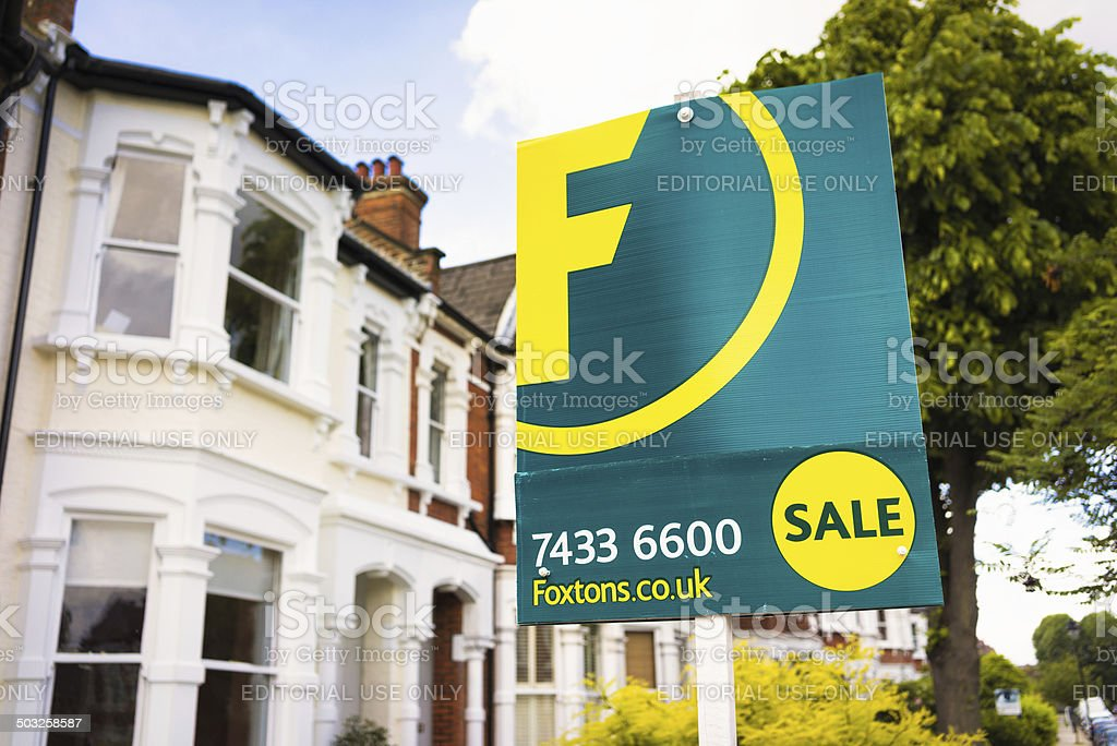London Property - Foxtons for sale sign stock photo
