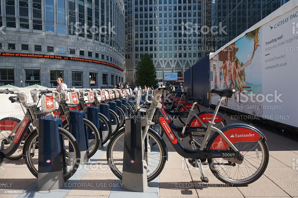 London public transport bicycles in Canary Wharf stock photo