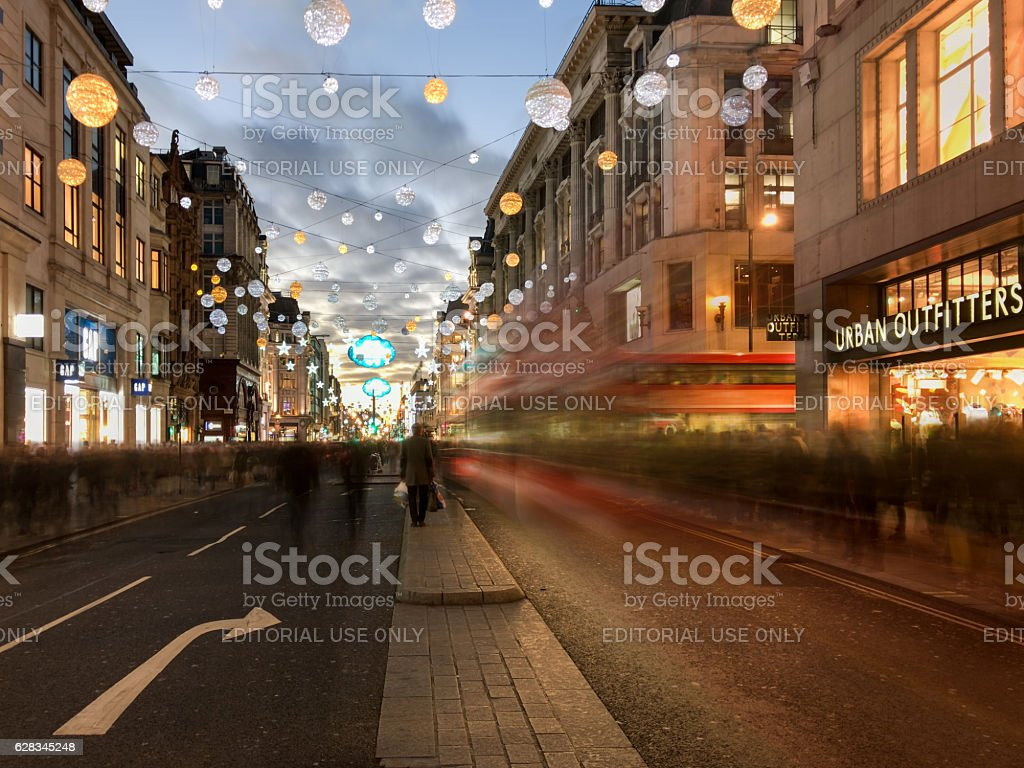 London red bus motion blur on Oxford Street, Christmas stock photo