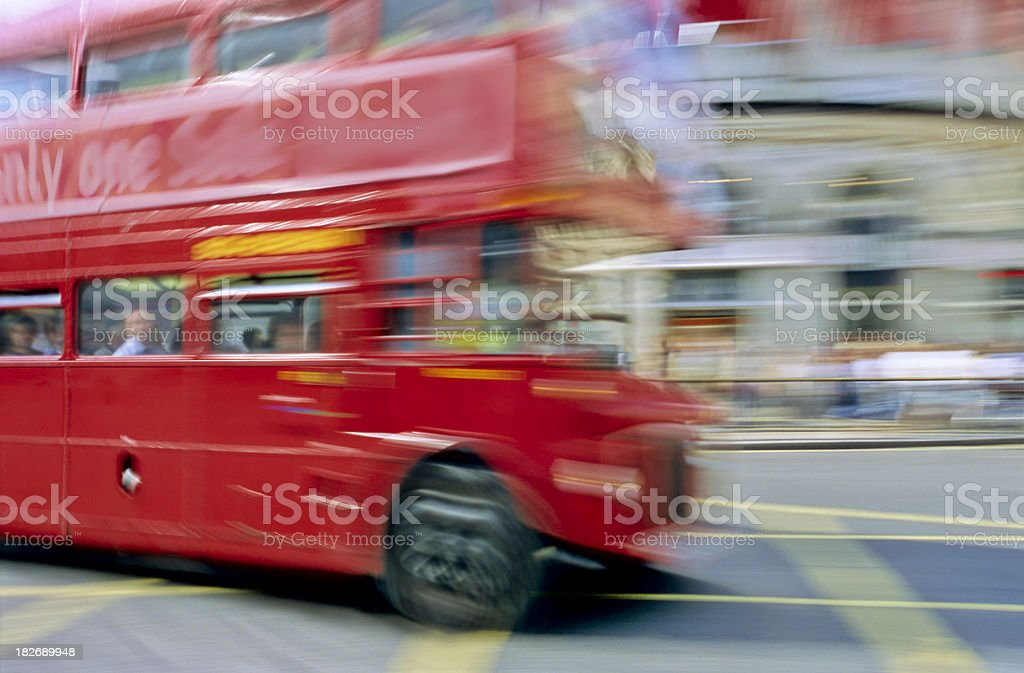 London Red Double Decker Bus Driving  at Piccadilly Circus royalty-free stock photo