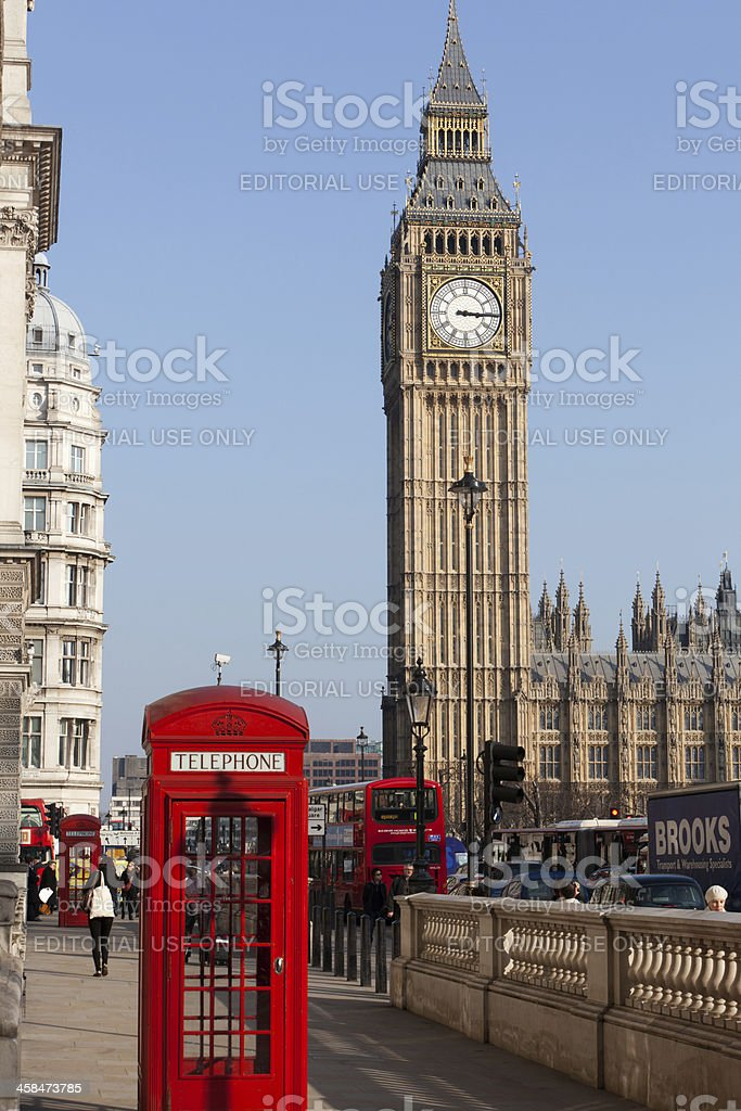 London. Red Phone Booth and Big Ben royalty-free stock photo