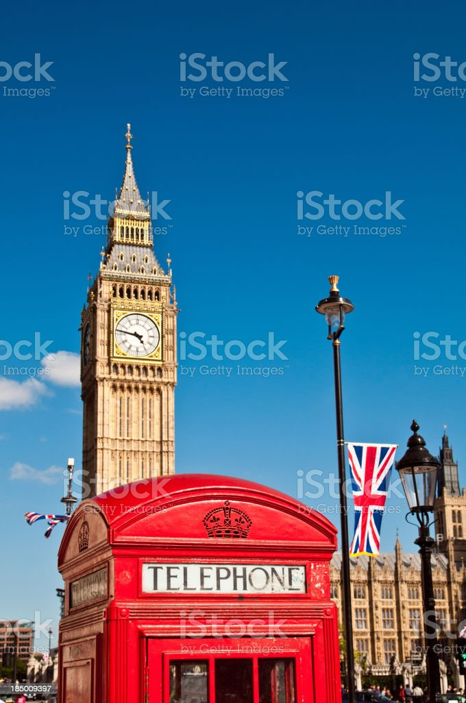 London Red Telephone Box and Big Ben royalty-free stock photo