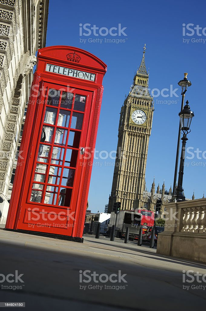 London Red Telephone Box with Big Ben royalty-free stock photo