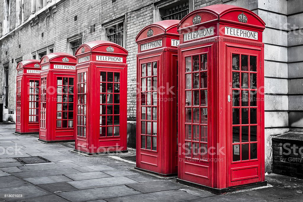 London Red Telephone Boxes stock photo