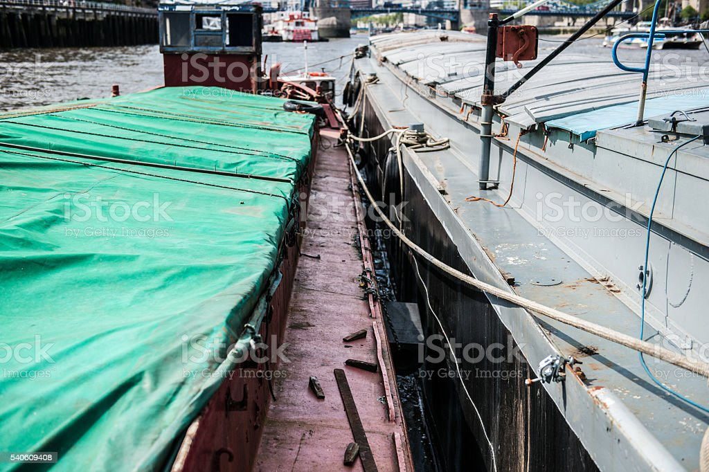 London River Working Barge stock photo