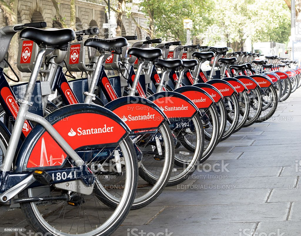 London Santander Bikes stock photo