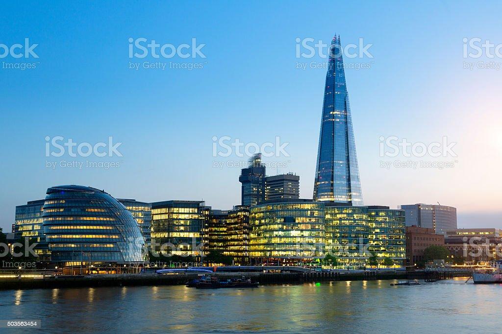 London, Shard London Bridge and Tower Bridge at dusk stock photo