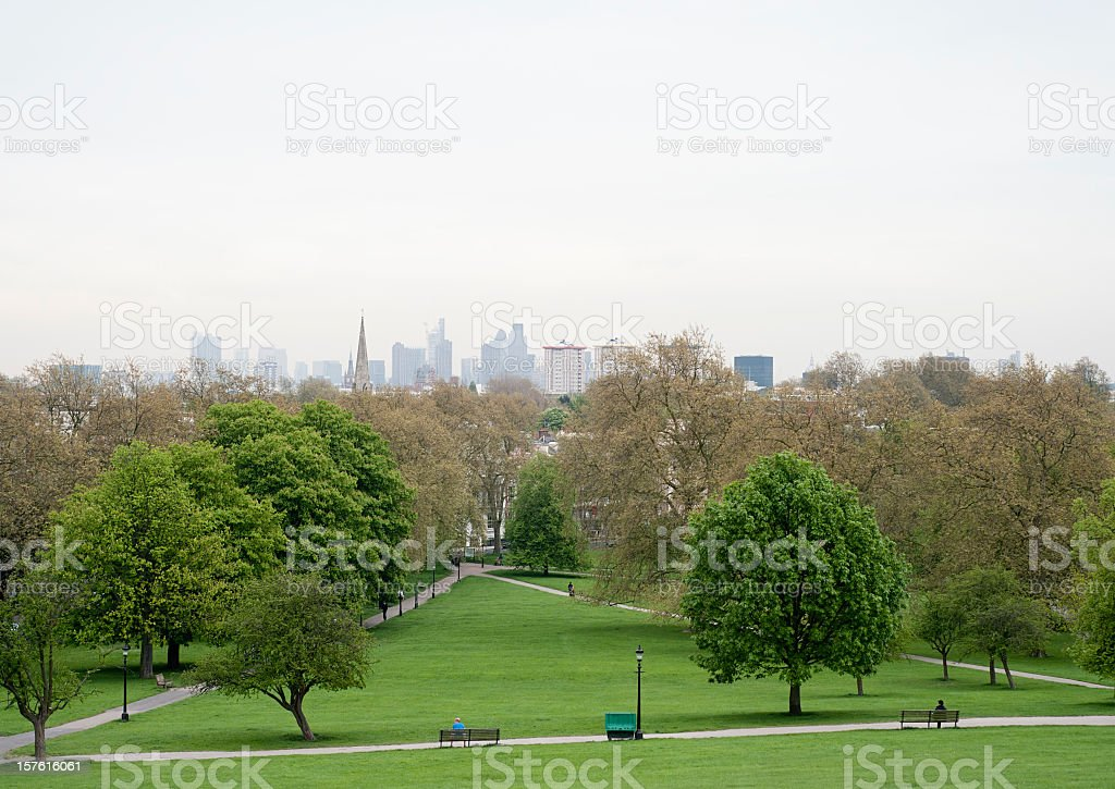 London Sky from Primrose Hill stock photo