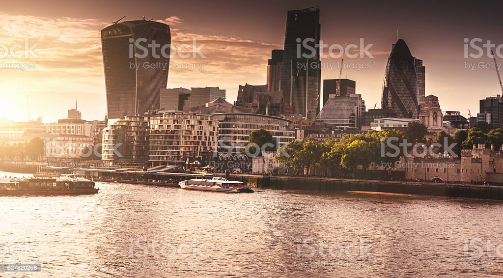 London skyline aerial view at dusk stock photo