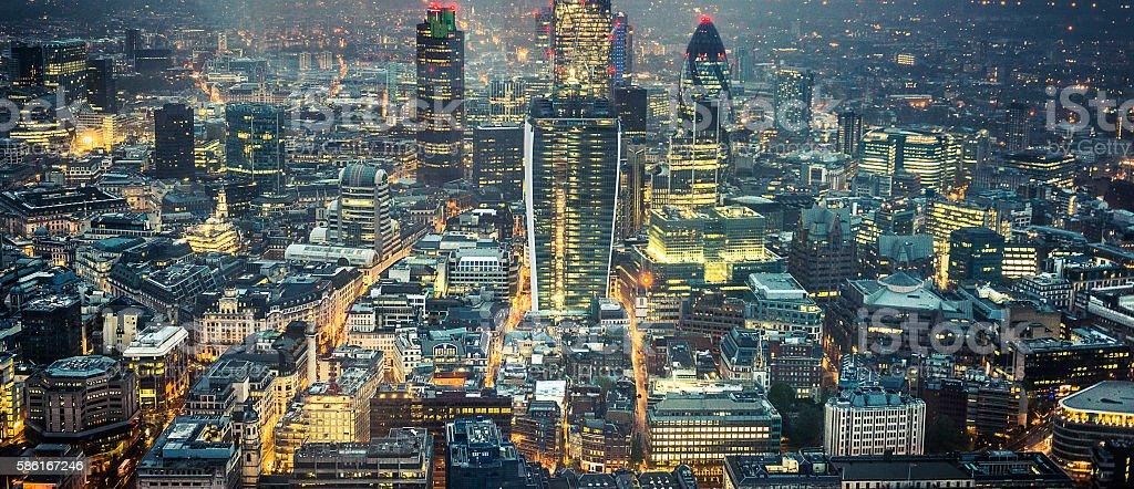 London skyline aerial view on night stock photo