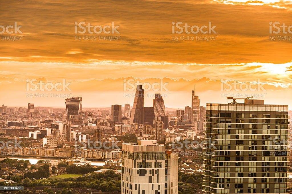 London skyline aerial view stock photo