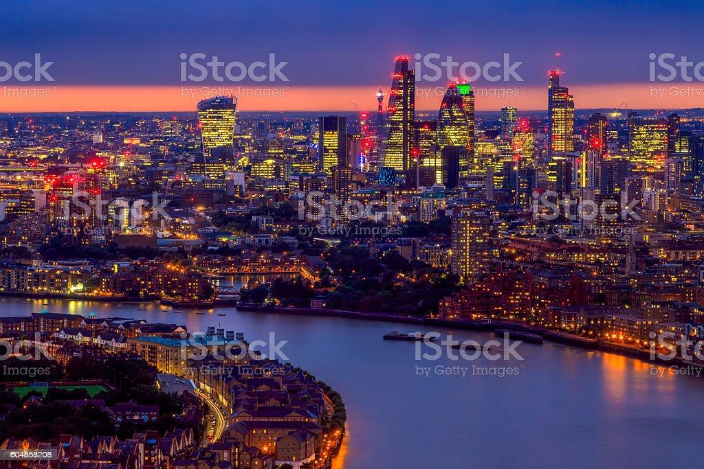London Skyline, Aerial View with Landmarks stock photo